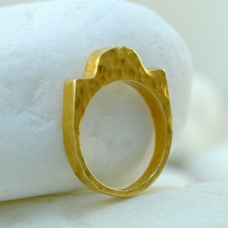 Gold Hammered Ring by A.LeONDARAKIS