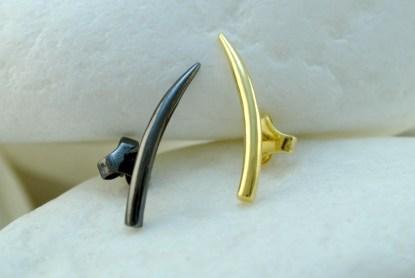 Black & Gold Horn Stud Earrings by A.LeONDARAKIS
