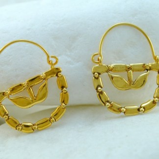 'Lemon Flower' Gold Hook Earrings by A.LeONDARAKIS