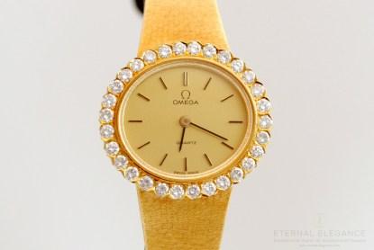 Omega 18k Gold Diamond Bezel Ladies Wristwatch