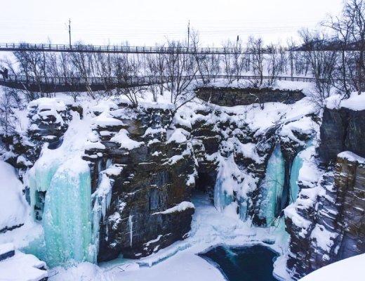 frozen waterfalls in Abisko National Park
