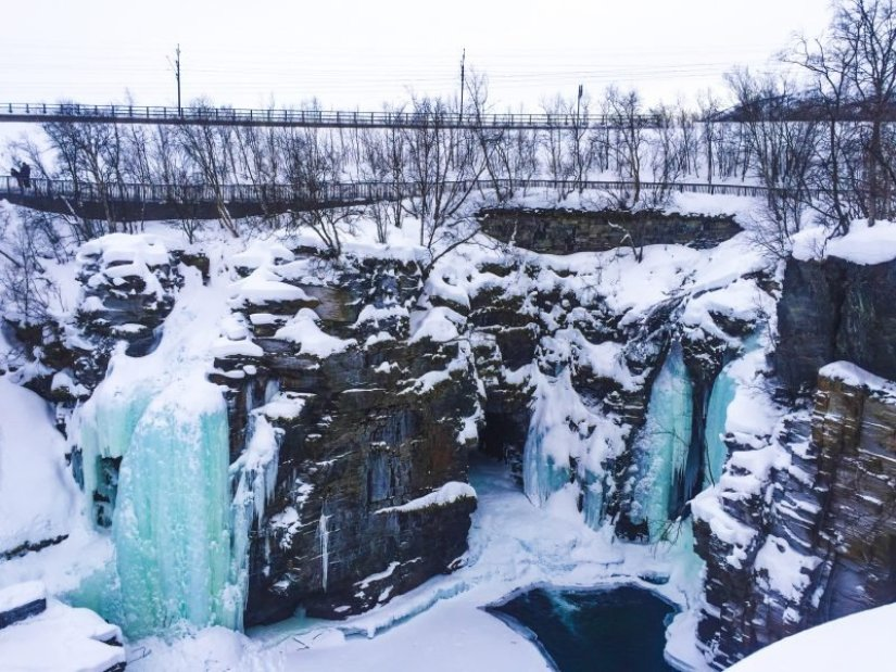frozen waterfalls in Abisko National Park