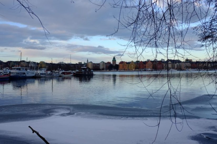 stockholm sweden in winter with frozen canals