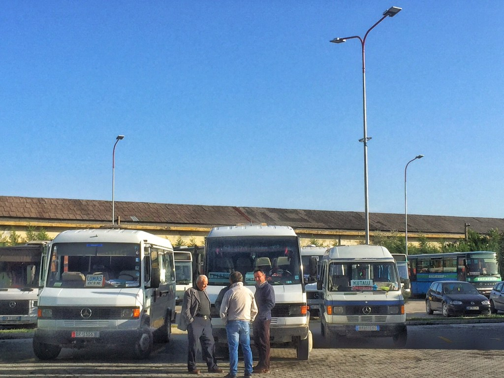 The closest thing to a bus station I encountered in Albania... which is why hitchhiking in Albania is so huge