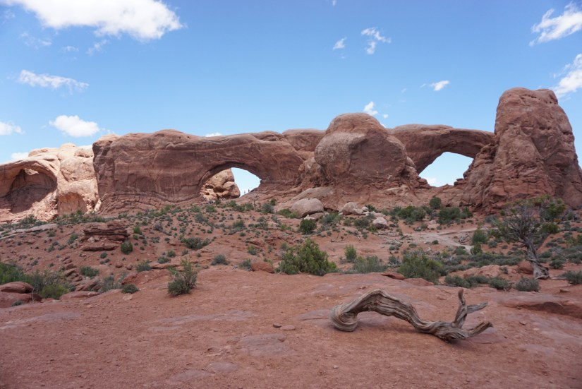 Windows section at Arches National Park with two arches next to each other