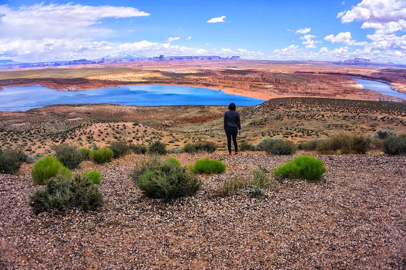 Allison standing in the Lake Powell landscape at Wahweap Overlook