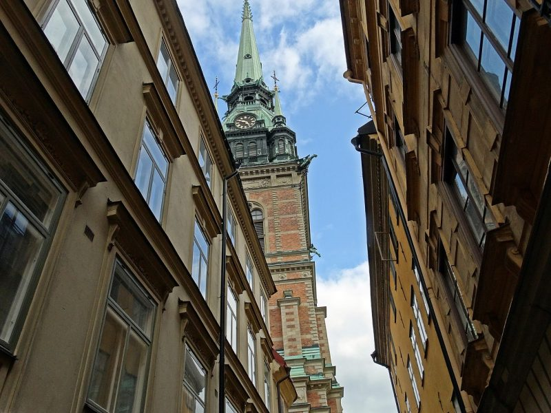 Church view in Old Town Stockholm, near the hostel
