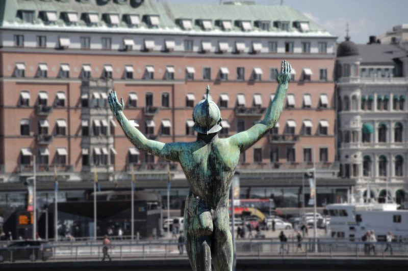 A statue in a harbor. Vasastan neighborhood has many Stockholm hostels.