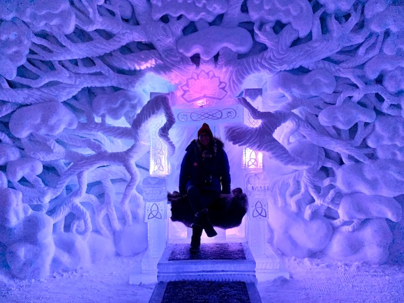 Sitting in the fancy chair at Tromso ice domes