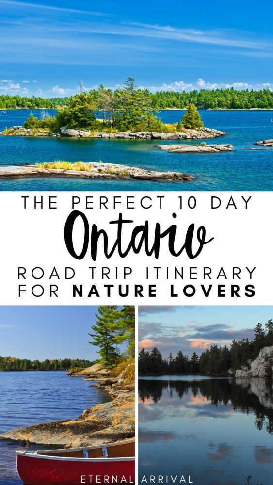Want to plan the perfect Canada road trip? Travel Ontario! This Ontario road trip itinerary covers 10 days in Ontario, hitting the following best places to visit in Ontario: Georgian Bay Islands, Killarney Provincial Park, and Algonquin Provincial Park. Tons of Ontario nature, landscapes, hiking await!
