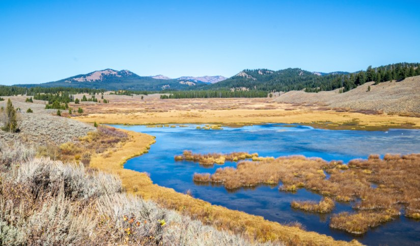 Yellowing grass surrounding the pond at Christian Pond with brilliant blue water and rolling hills in the background on a blue sky summer or fall day.