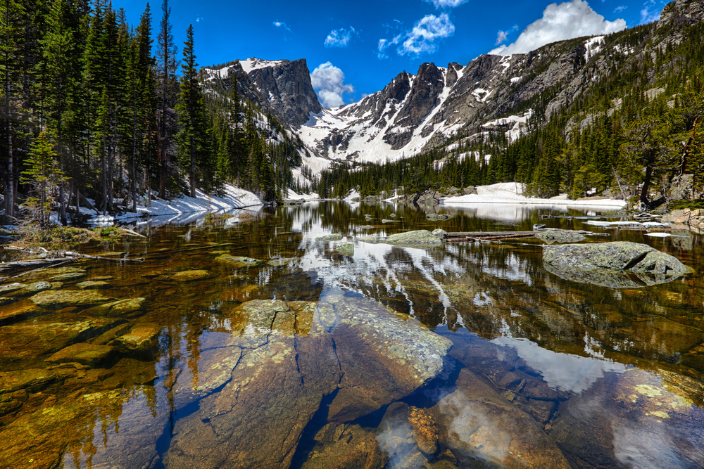beautiful mirror lake in rocky mountain national park in summer with small patches of snow remaining