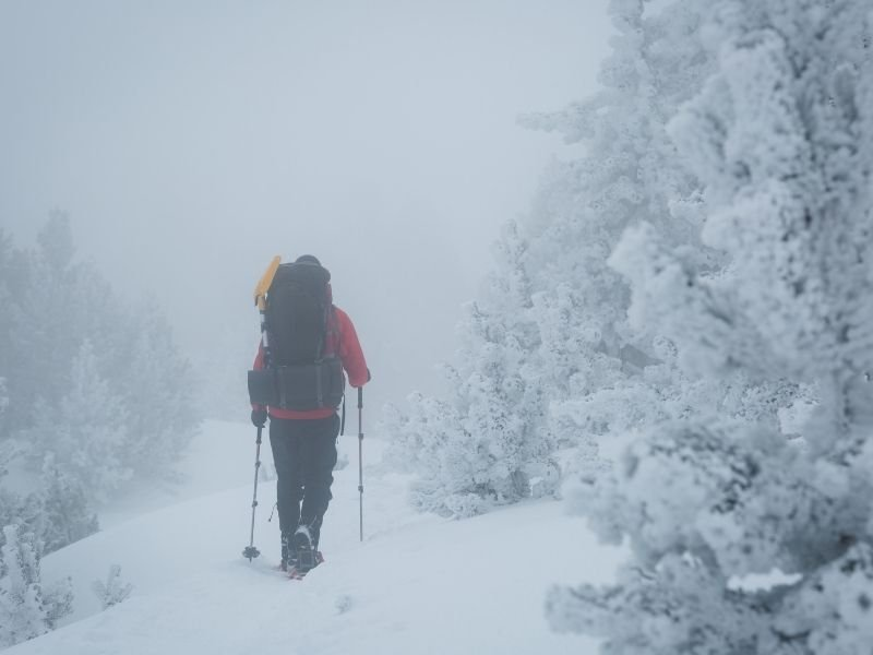 A man with a red jacket and backpack snowshoeing on a misty day with snow