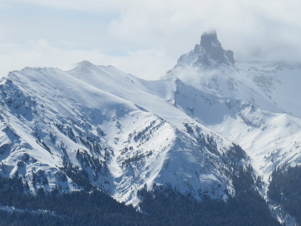 A misty close up view of the peaks near Cooke City