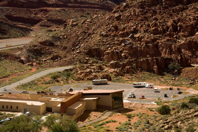 the rugged landscape of arches national park, starting at the visitor center