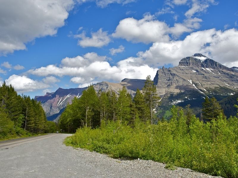 A road near Glacier National Park with greenery and some mountains with a bit of snow nearby