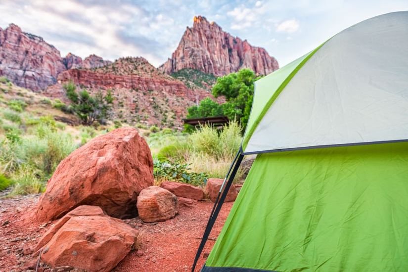 green tent outside of the landscape of zion national park a beautiful red rock landscape in utah