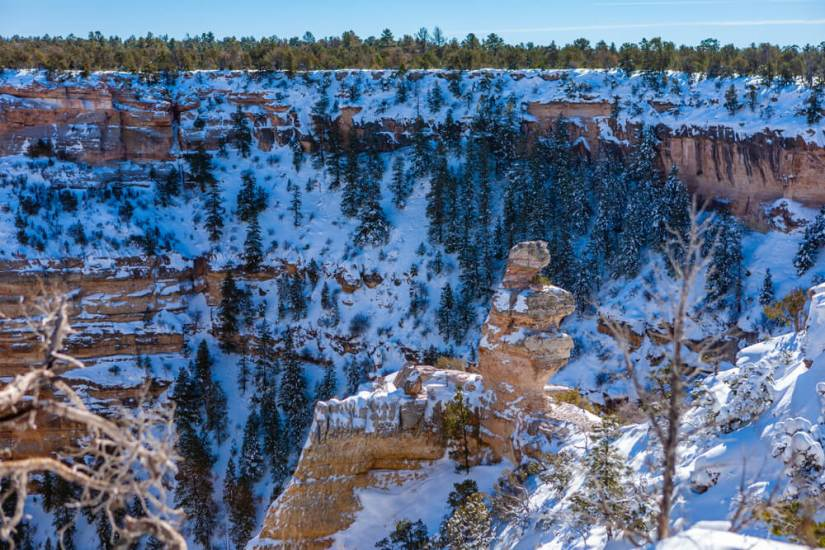 View as you hike into the Grand Canyon in winter, with snow covering the top edges of the red rocks and blanketing the trees.