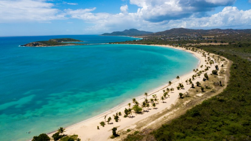 brilliant turquoise and cerulean waters of the beach at sun bay vieques