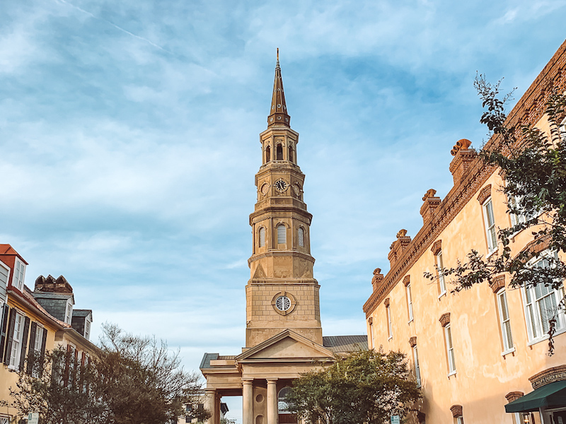 Historic center of Charleston SC with a tower