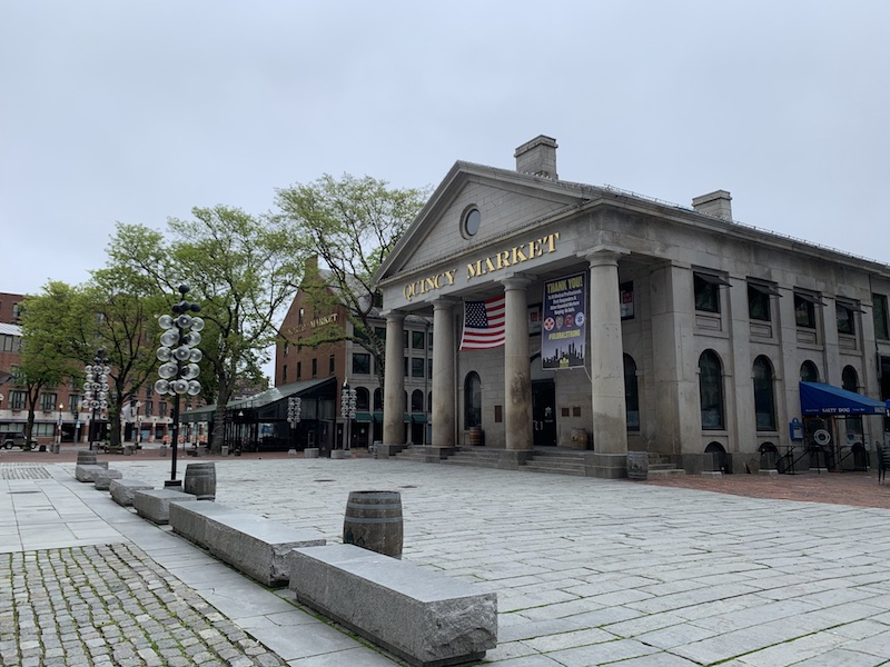 Quincy Market and other famous buildings in Boston's downtown area