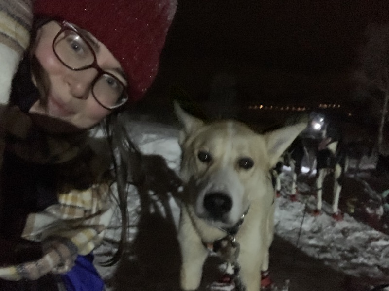 Believe it or not, this is the LEAST blurry selfie I took with a pup on my dog sledding night tour.