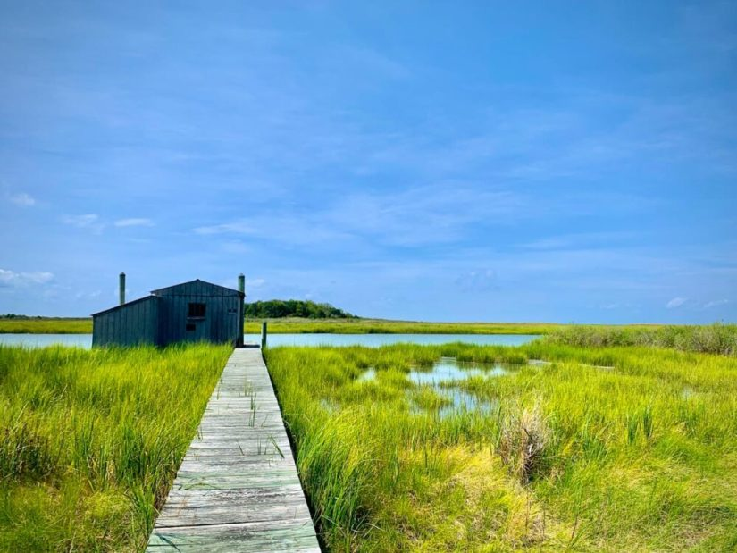 view of a crab shack on rhodes point in maryland's smith island, a popular us weekend getaway from dc