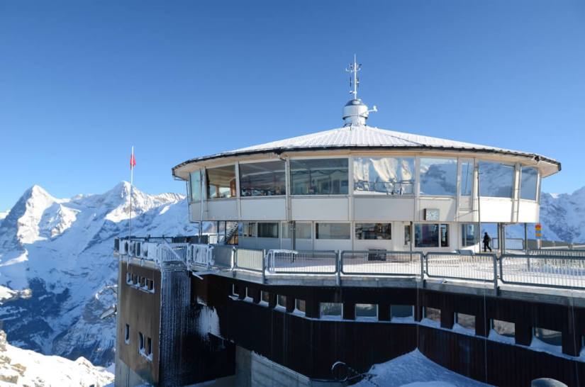 Famous revolving restaurant on the top of Schilthorn mountain, Switzerland, on a sunny day in summer.