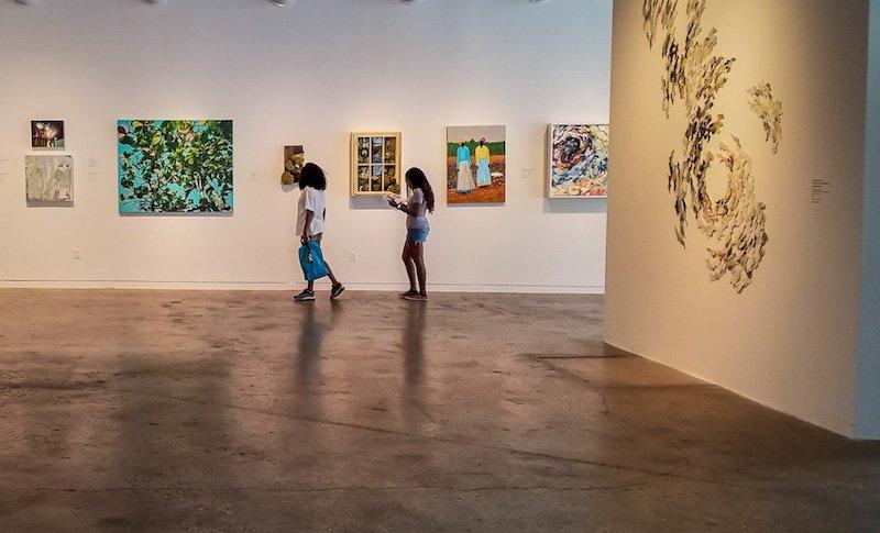 Two women in an art museum in Raleigh