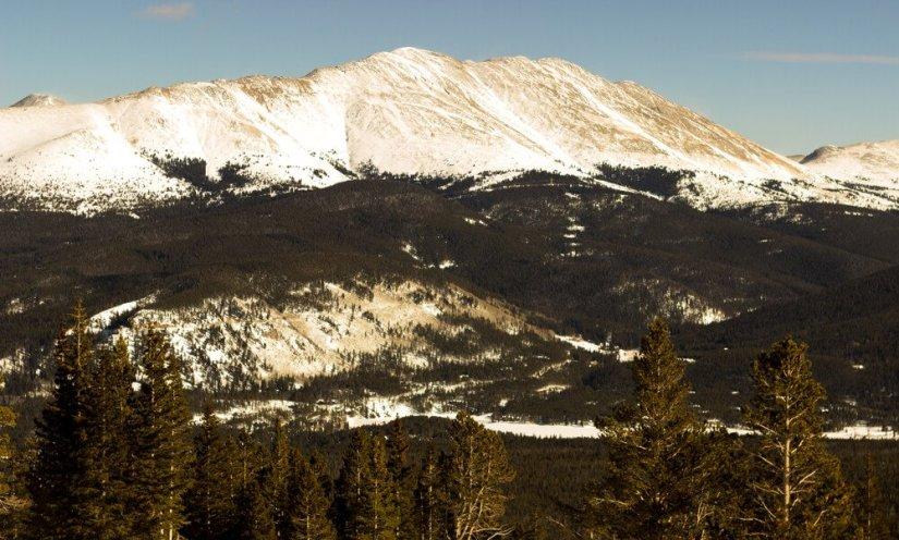 Snow dusted mountain in Breckenridge Colorado hiking trails