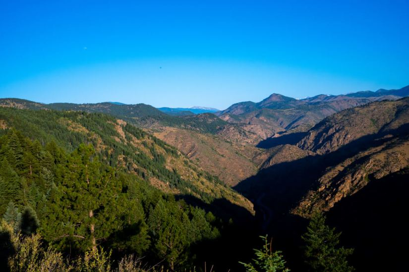Views of Rocky Mountain foothills near Golden Colorado on the Chimney Gulch Trail on a sunny, cloudless day