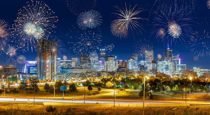 Fireworks over the city of Denver at New Years