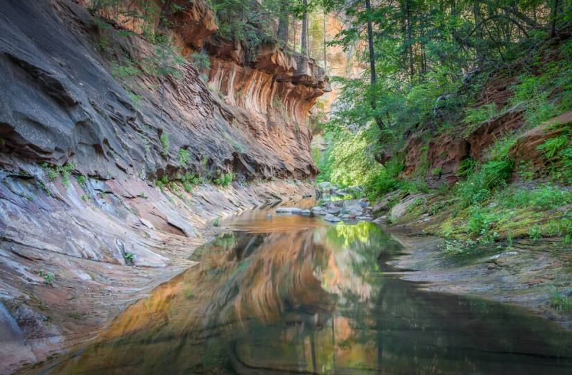 A trail through the Oak Creek Canyon in Arizona with cliffs and water and greenery