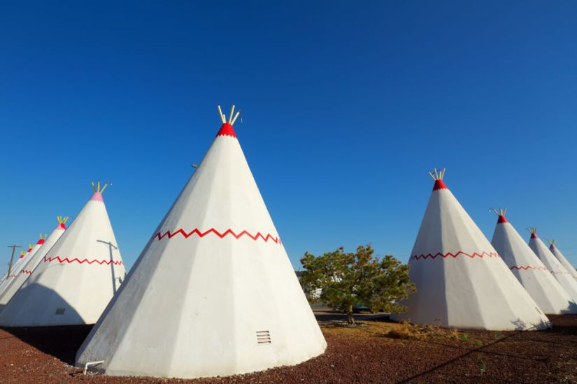 Tipi style hotel rooms as part of the Wigwam motel on route 66, a nostalgic place to stay