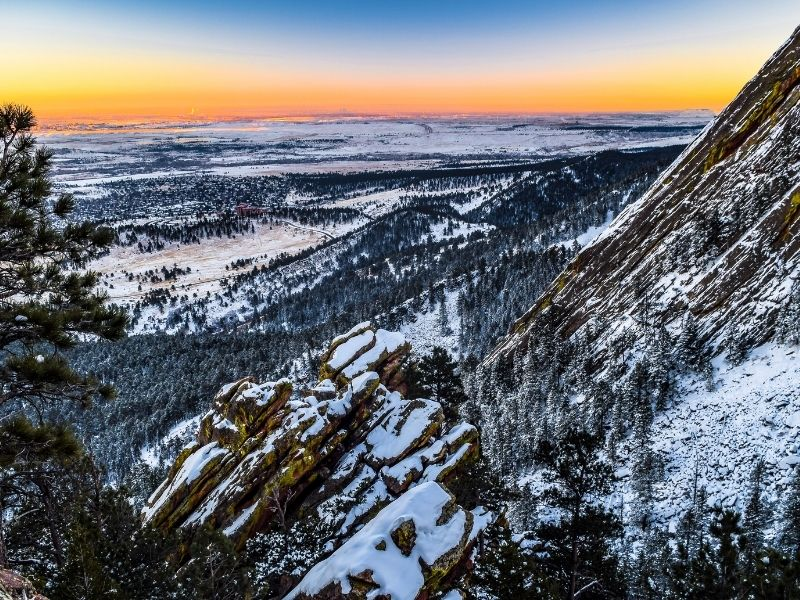 sunset colors seen from hiking the flatirons in winter