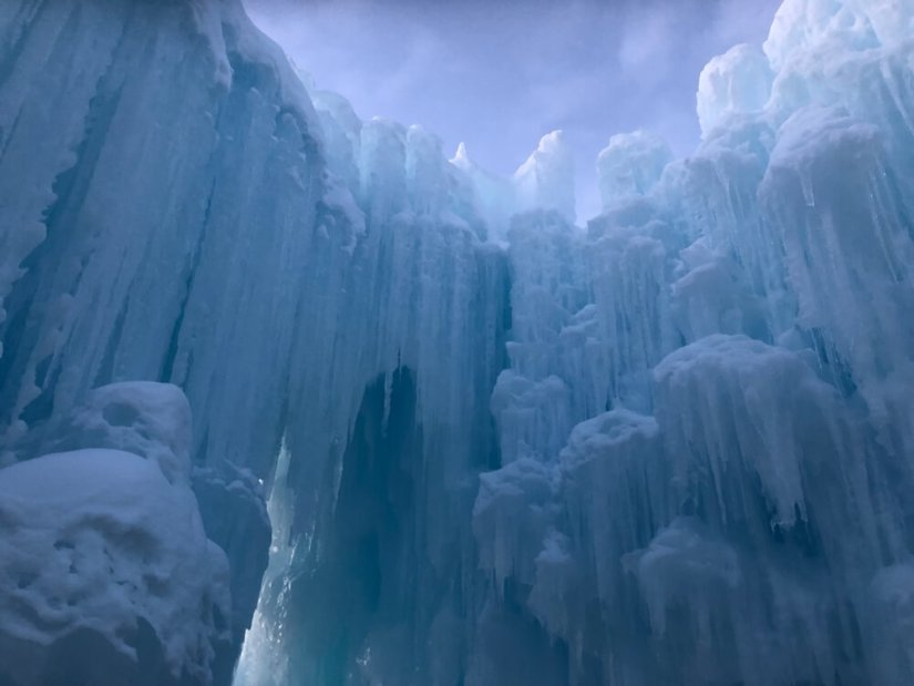 Close up detail of icicles at the Dillon Ice Castles