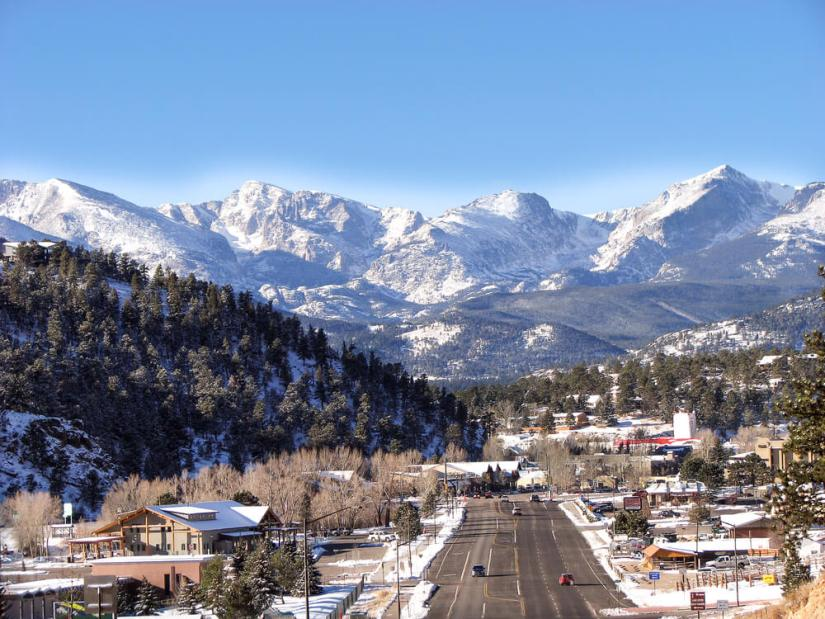 Estes Park downtown in winter with plowed streets and the city covered in snow