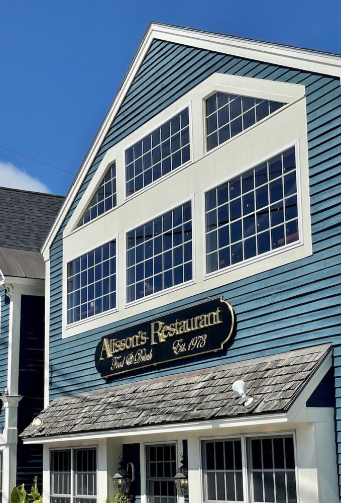 The famous Alissons restaurant in Kennebunkport Maine which is known for its delicious and creative lobster dishes