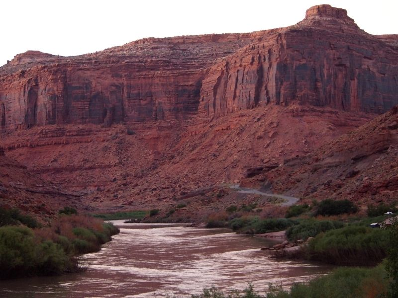 Sunset colors on the Colorado River near Moab