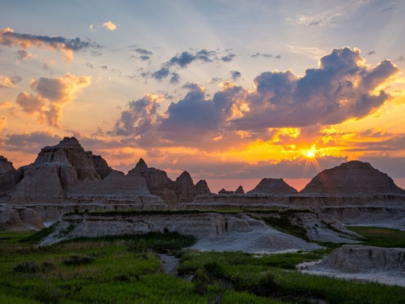Sun rising over the Pinnacles of Badlands National park