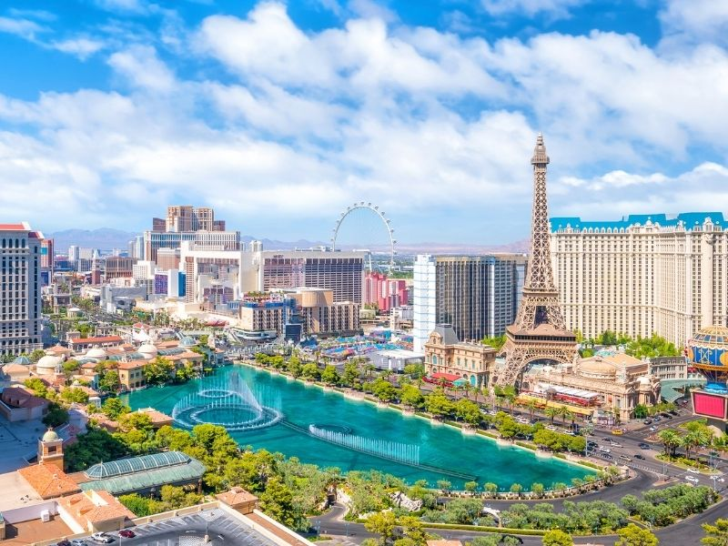 the las vegas strip as seen from above on a sunny day