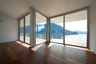Eterno aluminium timber composite windows minimalist frame fixed picture windows and sliding balcony door