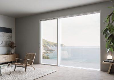Eterno aluminium timber composite windows ultra thin frame sliding balcony door