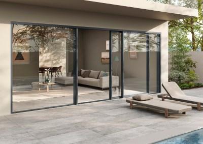 Eterno aluminium timber composite windows ultra thin frame extra large sliding doors