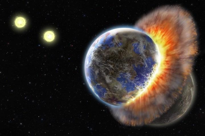 Concepção artística de planetas em colisão no sistema binário BD+20 307, há aproximadamente 300 anos luz de distância da Terra, na constelação de Áries. ©Lynette R. Cook