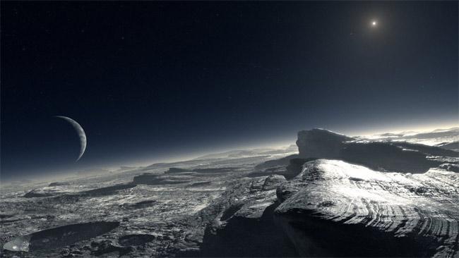Visão artística de como seria a superfície de Plutão, de acordo com os novos estudos sobre sua atmosfera. Esse desenho mostra as trilhas de puro metano na superfície. Crédito: ESO/L. Calçada