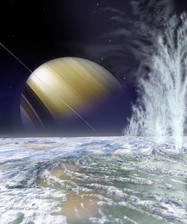 Enceladus e seus criovulcões - Ilustração e crédito: ©Michael Carroll {1}