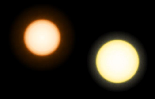 Comparação do tamanho e cor de Épsilon Eridani (à esquerda) e o Sol (à direita)