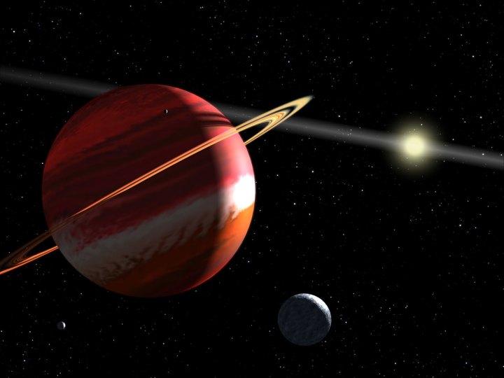 Concepção artística do exoplaneta Epsilon Eridani b que limpou a sua órbita {1}