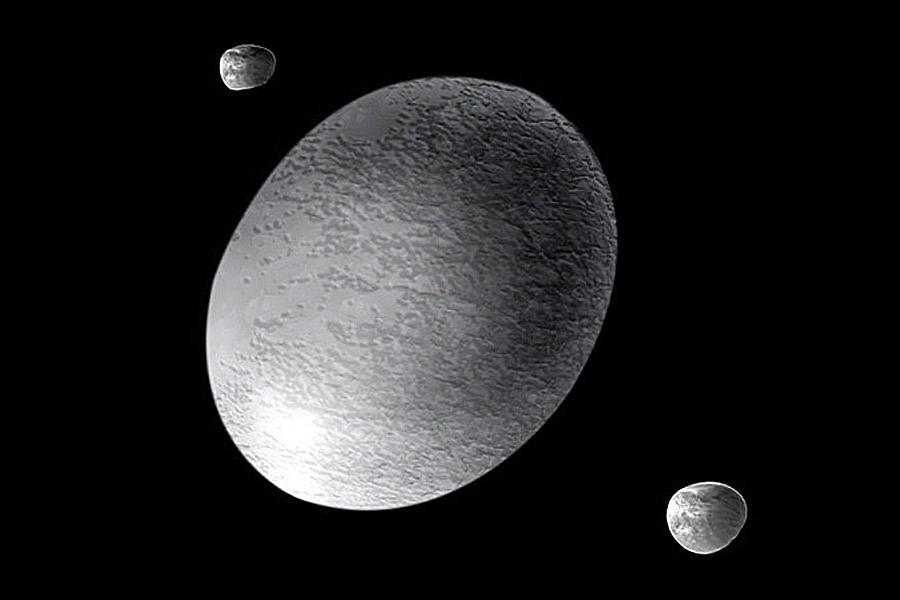 Haumea e suas luas Hi'iaka (a maior) e Nãmaka - crédito: NASA, APOD